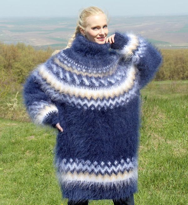 sweater hand knit mohair icelandic turtleneck supertanya angora wool nordic alpaca cashmere made fluffy fluffy soft