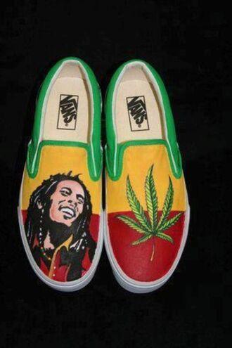 shoes vans rasta bob marley printed vans