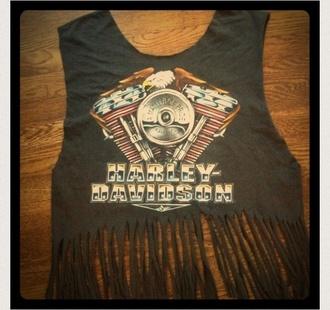 shirt black shirt cropped biker cute fringed top