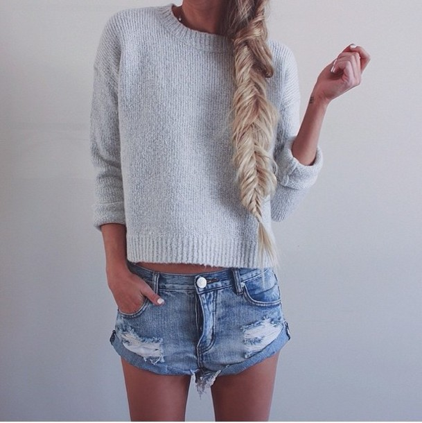 sweater shorts knitted sweater grey sweater