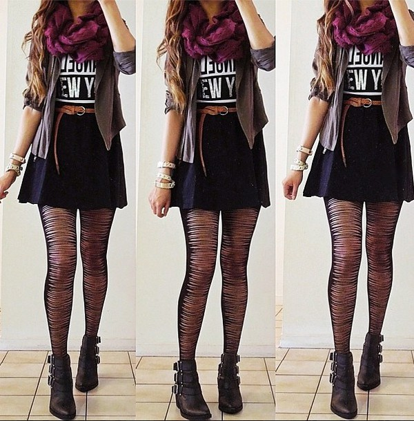 leggings pretty but well dressed. hair accessory tights shirt hipster tumbrish