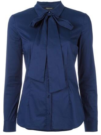 shirt bow women spandex cotton blue top