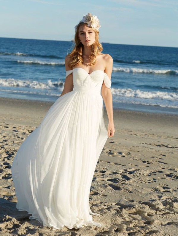 dress molly_bridal beanie beach wedding dress off the shoulder dress chiffon wedding