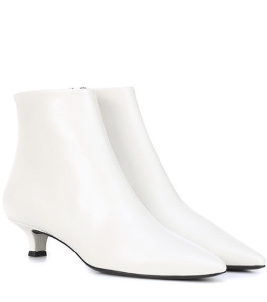 The Row Coco leather ankle boots in white