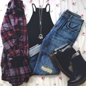 blouse,jeans,jewels,plaid shirt,flannel shirt,black top,top,t-shirt,ripped jeans,boyfriend jeans,necklace,boots,heels,whole oufit,blue jeans,DrMartens,hipster,crop trop,hippie,shoes,grunge,tumblr outfit,on point,on point clothing,shirt,black,cardigan,tank top,outfit,pants,flannel,fashion,plaid,punk,alternative,alternative shirt,tumblr,tumblr fashion,grunge shirt,hipster shirt,oversized,oversized flannel,oversized shirt,dark color,dark colors,alternative rock,tumblr clothes,tumblr girl,tumblr shirt,hipster punk,dark colours,dark colour,jewelry,black shirt,black boots,cute,flat boots,combat boots,jacket