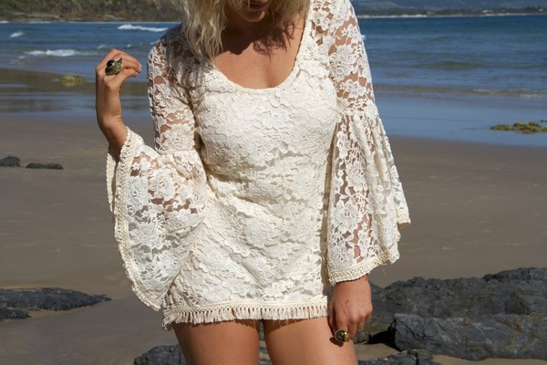 dress lace dress boho gypsy hippie beach summer jewels ring accessories milkthegoat milk the goat