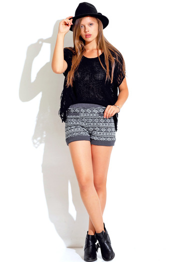 Gray white ethnic print sweater knit indie hight waisted bloomer shorts