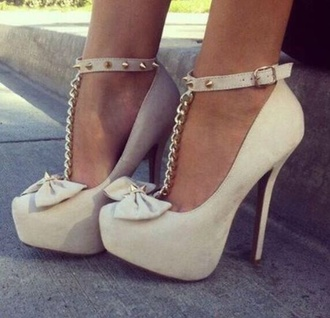 shoes high heels cute high heels bow studs cute fashion