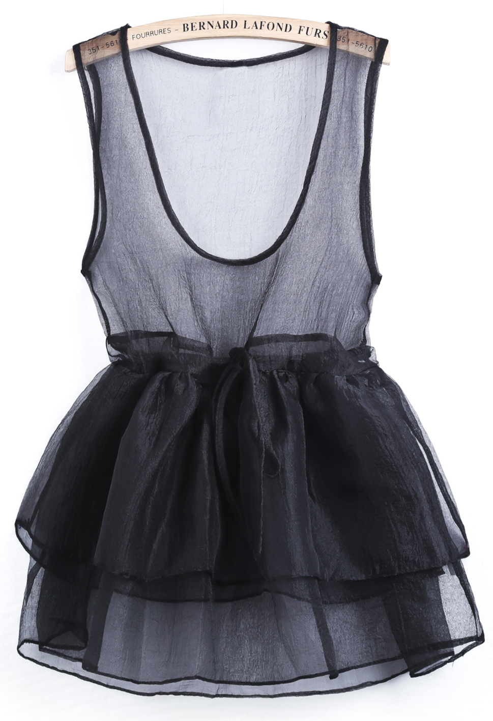 Black Scoop Neck Cascading Ruffle Flare Sheer Dress - Sheinside.com