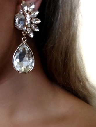 jewels earrings silver shiny stone white jewels silver jewelry