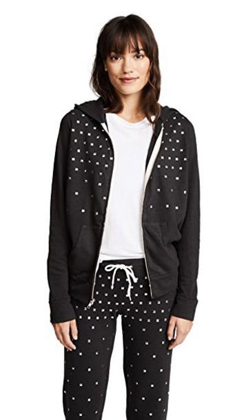 Monrow hoodie studs zip black sweater