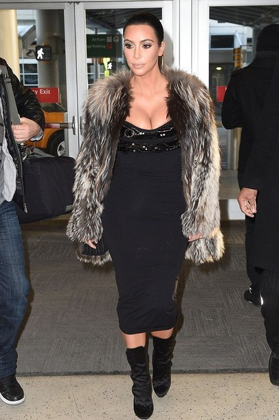 fur fur coat kim kardashian black dress sexy dress black boots