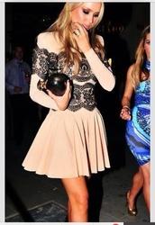 dress,pastel pink and black dress,black lace,long sleeve dress,pastel pink,short dress,nude,bcbg,shoes,black,pumps,lace,nude dress,black dress