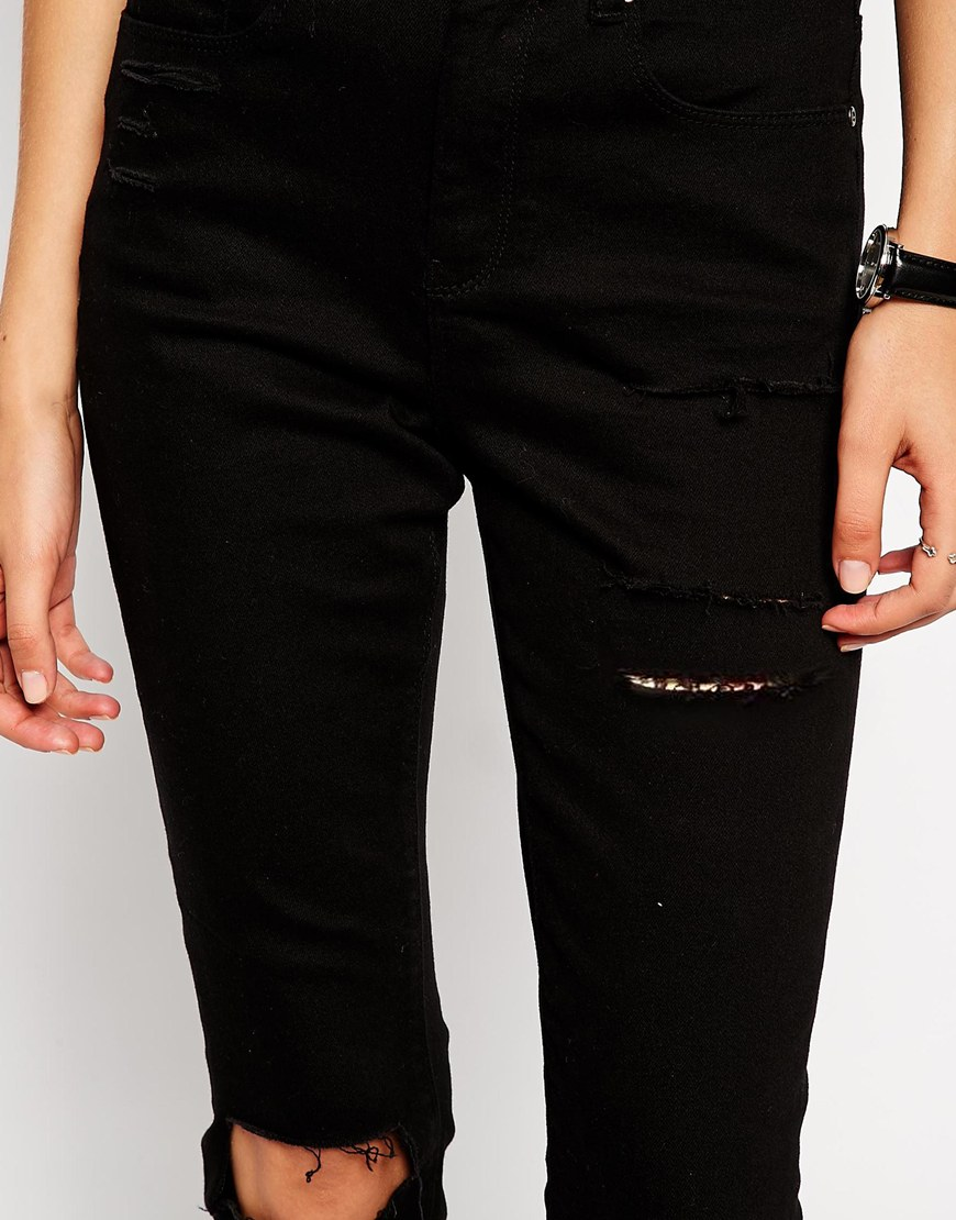 ASOS Ridley High Waist Ultra Skinny Ankle Grazer Jeans in Clean Black with Thigh Rips and Busted Knees at asos.com