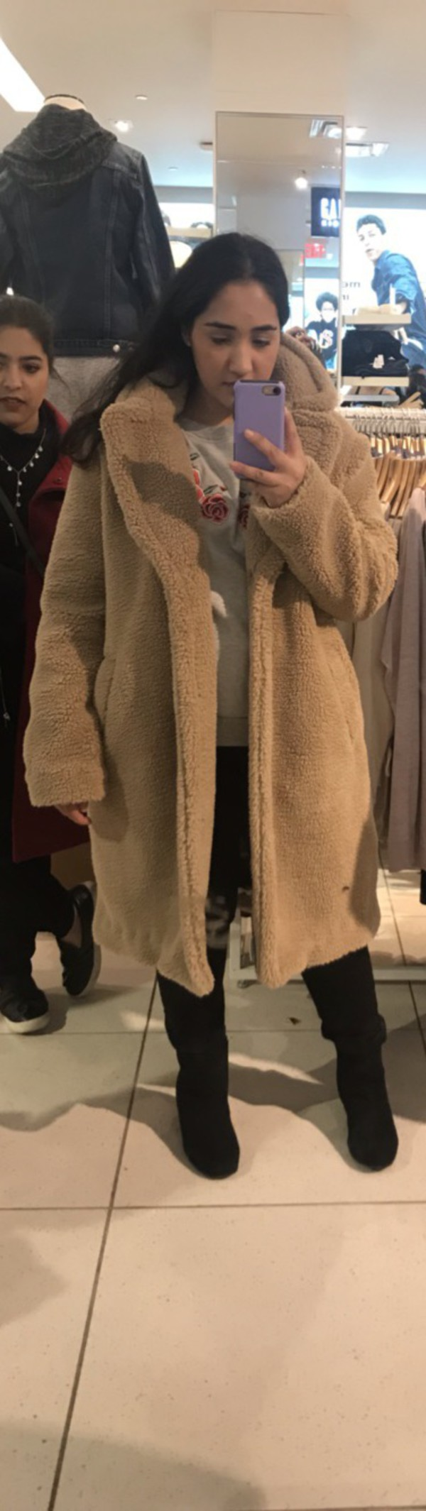 coat faux fur gap