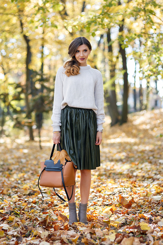 the mysterious girl blogger sweater skirt bag shoes jewels leggings top