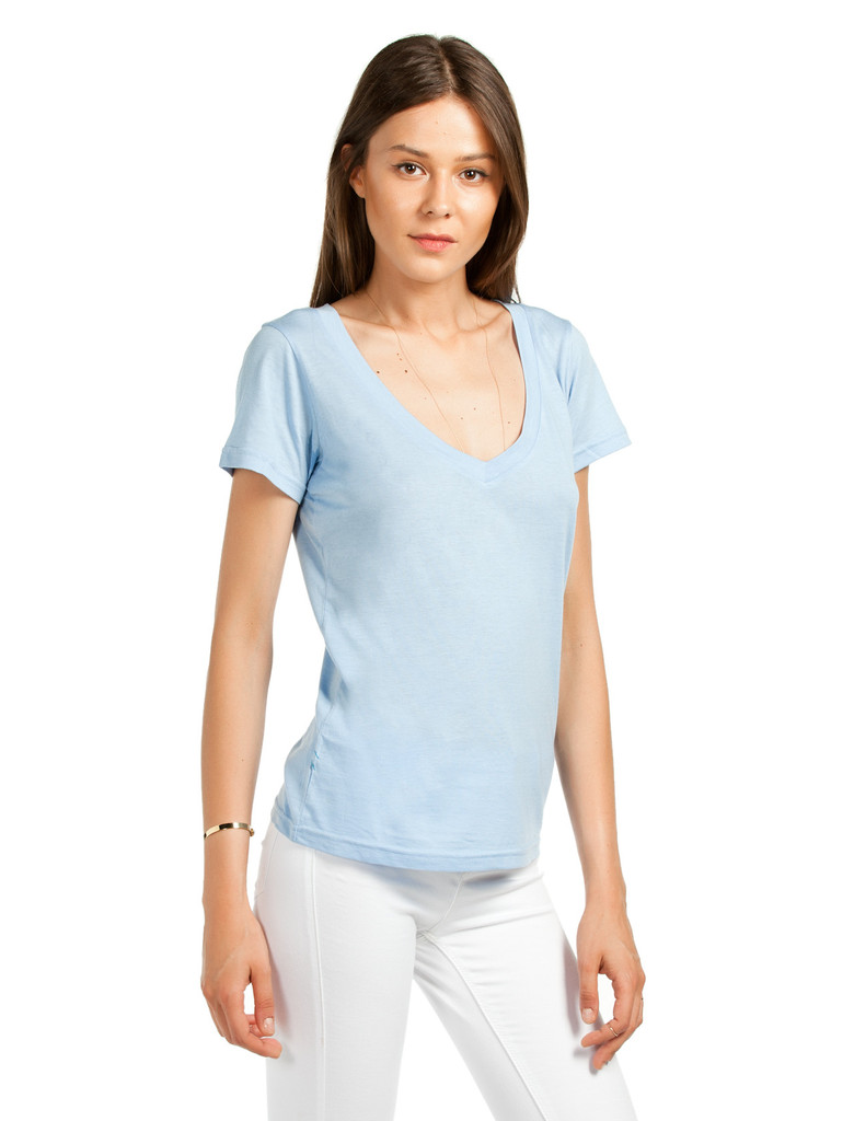 Bayan Derin V Yaka Mavi Basic Tişört