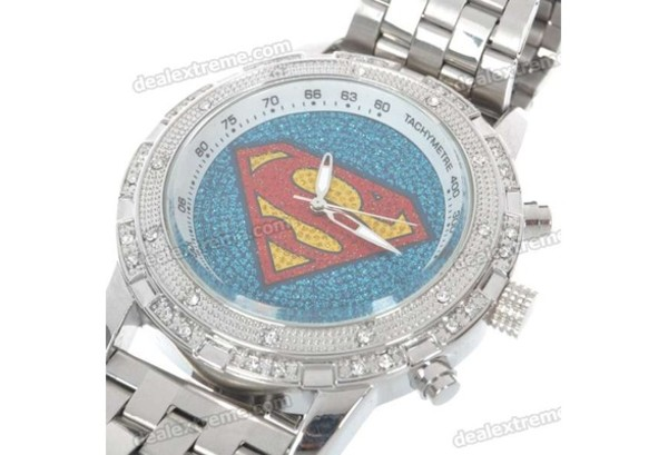 jewels watch silver watch superman silver rhinestones crystal swarovski