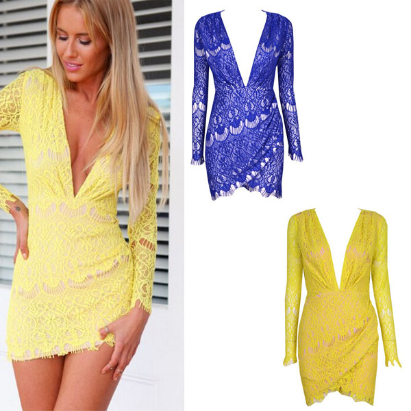 1a3c0e863dc Irregular fashion yellow V-neck lace bodycon dress. Party dress · FE ...