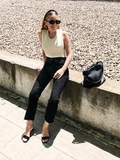 trini,blogger,sunglasses,top,jeans,shoes,bag,jewels,sandals