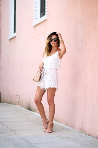 for all things lovely blogger top shorts shoes jewels sunglasses bag