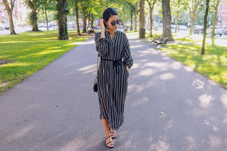 hey pretty thing blogger dress sunglasses jewels bag shoes striped dress sandals midi dress shirt dress fall outfits