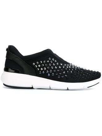 women embellished sneakers black neoprene shoes