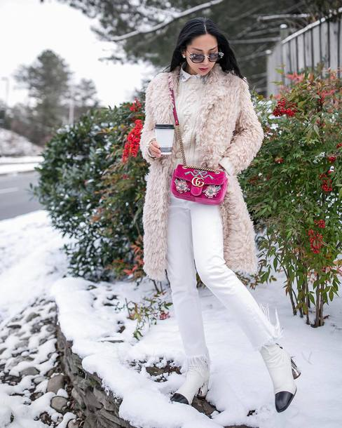 coat tumblr nude coat fuzzy coat bag pink bag denim jeans white jeans boots white boots ankle boots sweater knit knitwear knitted sweater sunglasses