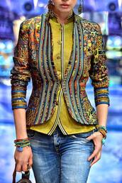 jacket,floral,gold,jeans,hindi,gold sequins,bracelet chains,army green,denims pants
