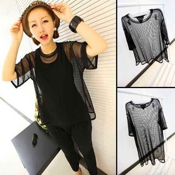 Sexy Women See Through Sheer Mesh Short Sleeve Tee T Shirt Oversize Tops Blouse | eBay