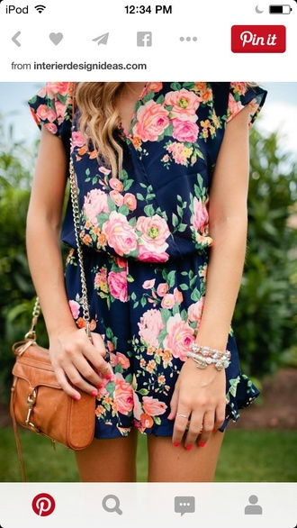 bag floral dress dress satch spring spring dress brown bag brown leather satchel bracelets hair accessory