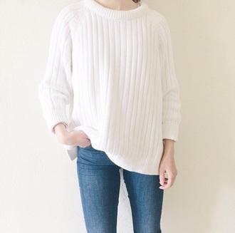 sweater white tumblr stripes comfy minimalist