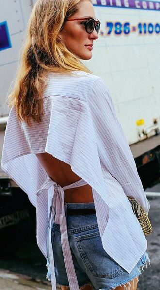 top backless backless top striped top shirt white shirt white top short denim summer top summer shorts summer outfits sunglasses metallic clutch clutch stripe shirt