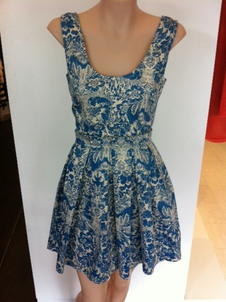 angle biba blue dress floral