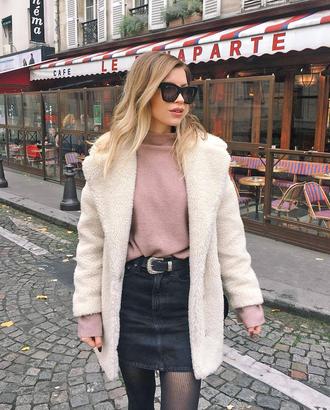 coat tumblr white coat teddy bear coat fuzzy coat skirt mini skirt black skirt sweater pink sweater knitwear knit knitted sweater