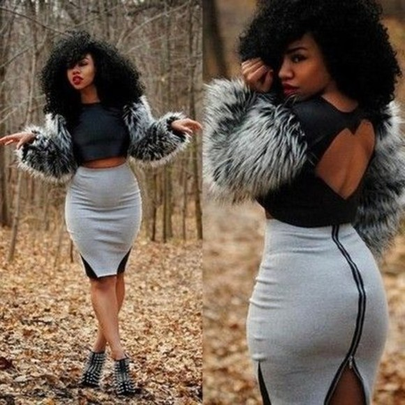 black dress grey skirt grey heart on the back faux fur jacket leather jacket