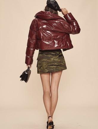 jacket red shiny lpa emily ratajkowski
