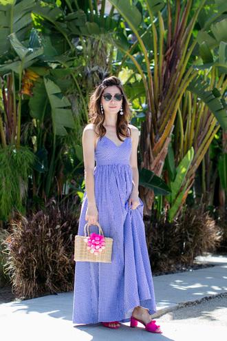 dress tumblr maxi dress long dress gingham gingham dresses bag basket bag sandals slide shoes shoes