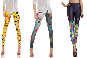 Smileys faces pfötchen paws trace tetris game leggings leggins gr. 34