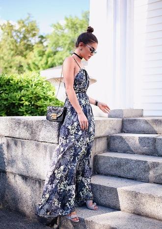 dress tumblr printed dress long dress summer dress bag black bag grey dress