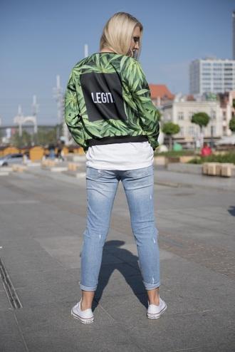 jacket bomber jacket green jacket green girl white converse urban marijuana city blonde hair