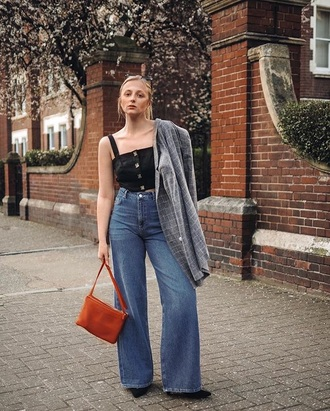 top blazer grey blazer blue jeans denim bag red bag black top crop tops jeans