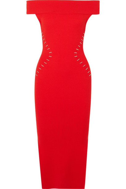 MUGLER dress embellished knit red