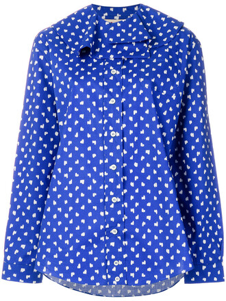 blouse women cotton blue pattern top