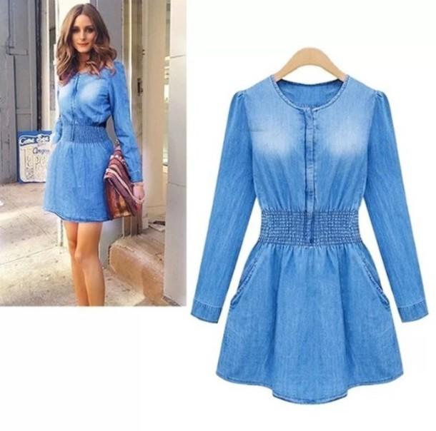 Dress: denim, jeans, denim dress, jean dress, long sleeves, blue ...