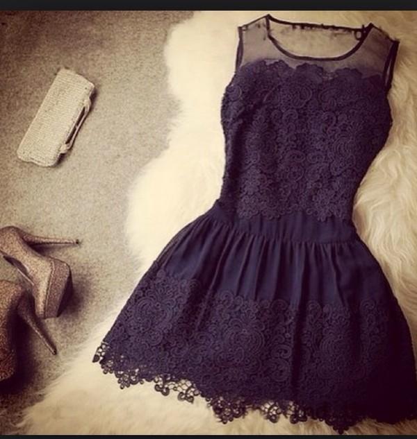 dress little black dress lace dress skater dress black