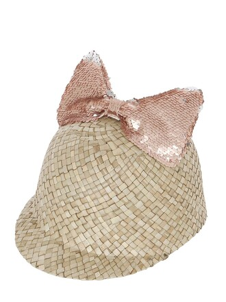 bow hat straw hat pink