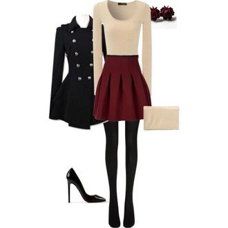 skirt shirt coat shoes ivory red black