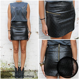 Black Leather Look Mini Zip High Waisted Skirt Padded Diamond 8 10 ...