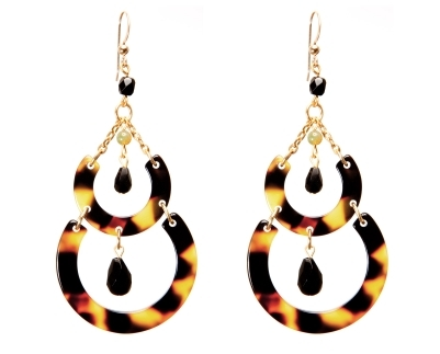 Crescent earrings with agate bead & crystal drops